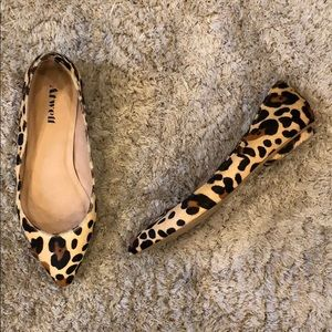 Atwell Calf Hair Leopard Print Leather Flats